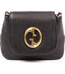 gucci 1973 black pebbled calfskin gg crossbody bag black/logo sz: m