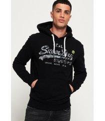 superdry vintage-like logo camo hoodie