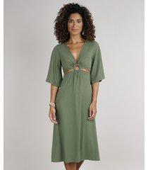 vestido feminino midi canelado com vazado manga 3/4 verde militar