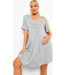 zwangerschap nachtjapon met v-hals en knopen, grey marl