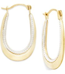 two-tone oval hoop earrings in 10k gold and polished rhodium