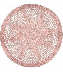 dywan okrągły pleciony różowy