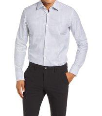 men's boss jango slim fit stripe dress shirt, size 16 - blue