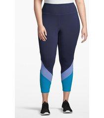 lane bryant women's active capri legging - angled inset 26/28 black/blue