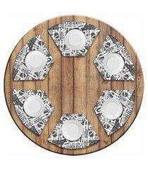 jogo americano love decor  para mesa redonda wevans bbq kit com 6 pçs