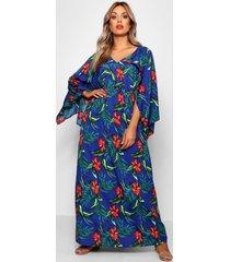 plus tropische maxi-jurk met kimono mouwen, blauw