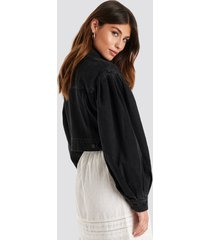 na-kd trend puff sleeve oversized denim jacket - black