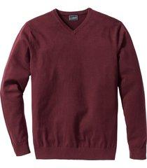 pullover in maglia fine con scollo a v regular fit (rosso) - bpc selection