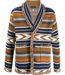 alanui intarsia frayed cardigan - brown