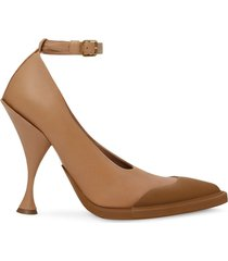 burberry toe cap detail pointed toe pumps - brown
