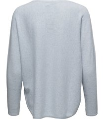 curved sweater stickad tröja blå davida cashmere