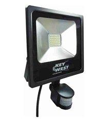 refletor led com sensor de presença 30w bivolt 6000k preto luz branca