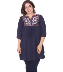 white mark women's plus size marcella embroidered dress