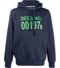 diesel two tone logo print hoodie - blue