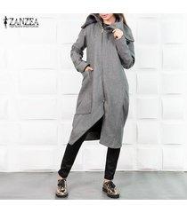 zanzea para mujer otoño invierno turn-down cuello largo de la cremallera outwear watm coats -gris
