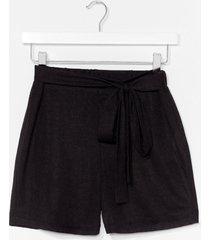 womens lightweight knit tie waist loungewear short - black