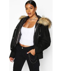 faux fur trim detachable gilet parka, black