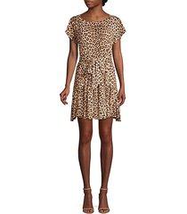 leopard linen bow-front dress