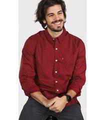 camisa bordó levi's sunset one pocket shirt - warm cabernet full print