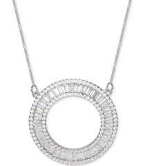 """cubic zirconia baguette circle 18"""" pendant necklace in sterling silver"""