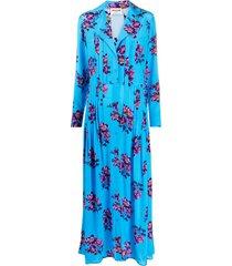 zadig & voltaire floral maxi shirt silk dress - blue