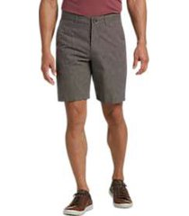 joseph abboud brown cotton and linen modern fit shorts