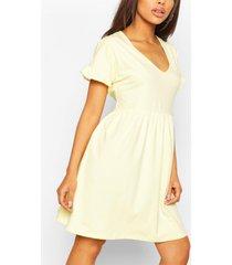 v neck frill sleeve smock dress, yellow