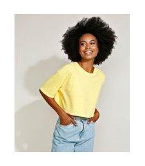 t-shirt oversized cropped de algodão manga curta decote redondo mindset amarela
