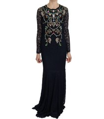 crystal floral lace long jurk