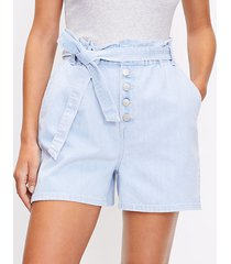 loft paperbag pull on denim shorts in soft washed blue