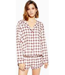 red check woven pajama shirt - red
