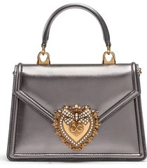 dolce & gabbana devotion metallic cross body tote - silver