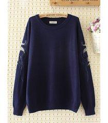 maglioncino pullover con ricamo per le donne