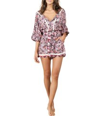 women's maaji claire ditsy cover-up romper, size medium - pink