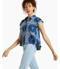 style & co patchwork-print poplin camp shirt, created for macy's