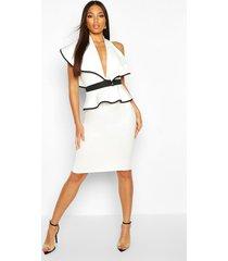 contrast edge peplum midi dress, white