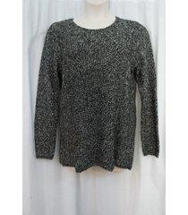 calvin klein woman sweater sz 0x black birch seamed crew neck med. knit casual