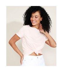 camiseta de algodão básica com nó manga curta decote redondo rosa claro