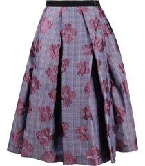 comme des garçons tricot plaid floral skirt - pink