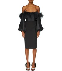 badgley mischka collection long sleeve feather cocktail dress, size 8 in black at nordstrom
