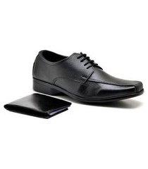 kit sapato sandro & co. derby tradicionally + carteira gr01 masculino