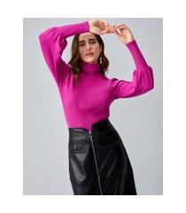 amaro feminino sueter de tricot gola alta com manga tipo bishop, rosa pink
