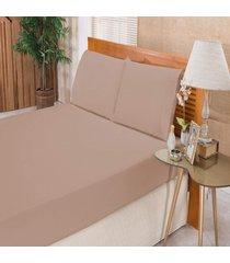 jogo de cama guga tapetes casal elegance 3 peças percal 180 fios caqui,