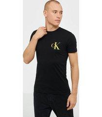 calvin klein jeans instit back pop logo slim tee t-shirts & linnen black