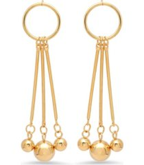 steeltime ladies 18k micron gold plated stainless steel circle drop earrings