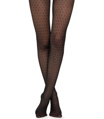 calzedonia micronet tights with hatch pattern woman black size 1/2