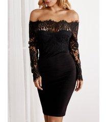 inserción de encaje negro liso con hombros descubiertos mangas largas dobladillo ajustado vestido