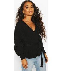 petite wrap tie waist peplum knitted sweater, black