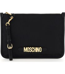 moschino fabric pouch moschino lettering