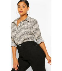 plus mini leopard print oversized shirt, stone
